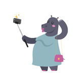 Funny picture photographer mamal person take selfie stick in his hand and cute hippo animal taking a selfie together Royalty Free Stock Images