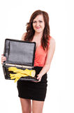 Funny picture of young business woman hiding her yellow rubber g Stock Images