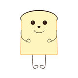 Funny piece of bread. Character isolated on white bakground Stock Images