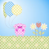 Funny pig. Patchwork-style postcard with a funny pig. vector illustration Royalty Free Stock Photography