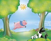 Free Funny Pig And Rabbit Family  Royalty Free Stock Image - 4312786