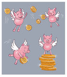 Funny pig bring money Royalty Free Stock Photos