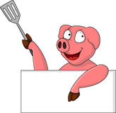 Funny pig cartoon with blank sign Royalty Free Stock Images