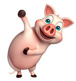 Funny  Pig cartoon character. 3d rendered illustration of funny Pig cartoon character Royalty Free Stock Photos