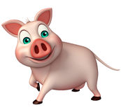 Funny  Pig cartoon character. 3d rendered illustration of funny Pig cartoon character Stock Image