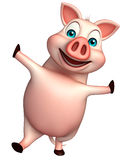 funny  Pig cartoon character Royalty Free Stock Images