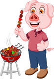 Funny pig cartoon making satay. Illustration of funny pig cartoon making satay Stock Photos