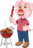 Funny pig cartoon making satay Stock Photos
