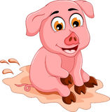 Funny pig cartoon sitting in mud puddle Royalty Free Stock Images