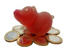 Funny pig and coin Royalty Free Stock Photos