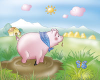 Funny pig in the country. A cute pig in the mud. Digital illustration for the gingerbread boy fairy tale vector illustration