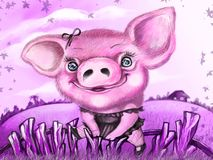 Funny pig in the dress on the fence. Happy New Year! 2019. Funny pig in the dress on the fence. Happy New Year! Fashionista and beauty royalty free illustration