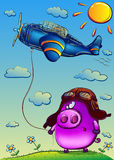 Funny pig in a flying helmet. And glasses keep airplane on a cord. Vector illustration, 10 eps Vector Illustration
