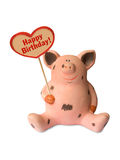 Funny pig with heart Happy birthday Stock Images