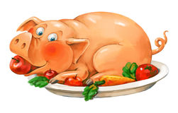Free Funny Pig Lies On A Plate Royalty Free Stock Images - 28192149