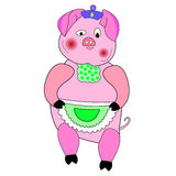 Pig character cartoon cute. Magic pink pig with purple beret and apron Stock Photography
