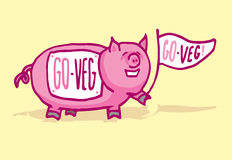 Funny pig supporting veganism Royalty Free Stock Image