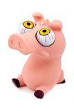 Funny pig toy. (pink), isolated on white background stock images