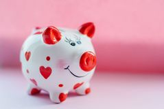 Funny piggy bank and on pink background. Savings concept. Funny piggy bank and on pink background Stock Photography