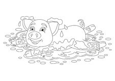 Funny piggy lying on dirt puddle, coloring book page Stock Photo