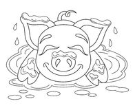 Funny piggy standing on dirt puddle, coloring book page Stock Images