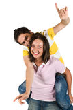 Funny piggyback Stock Photography