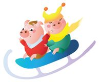 A Funny piglets on a big sled. royalty free illustration