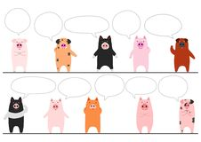 Funny pigs border with speech bubbles. Standing funny pigs in a row, for Asian new year designs or so stock illustration