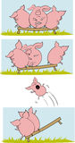 Funny pigs comix Stock Image