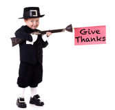 Funny Pilgrim Child Stock Photography