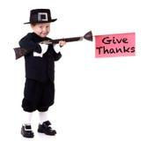 Funny Pilgrim Child Stock Photography