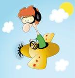 Funny pilot. On sky.illustration Stock Photography