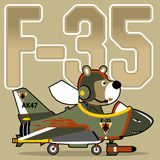 Funny pilot cartoon on fighter jet. Animal pilot with fighter jet. Vector cartoon illustration, no mesh, vector on eps 10 Royalty Free Stock Photo