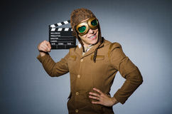 Funny pilot with goggles Stock Images
