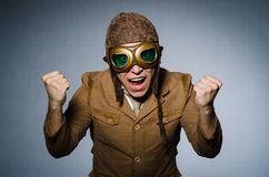 Funny pilot with goggles Royalty Free Stock Images