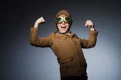 Funny pilot with goggles Stock Photography