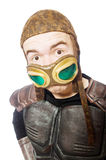 Funny pilot with goggles isolated Stock Image