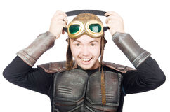 Funny pilot with goggles isolated Stock Photography