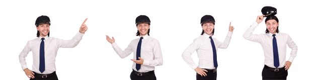 The funny pilot isolated on white. Funny pilot isolated on white royalty free stock image