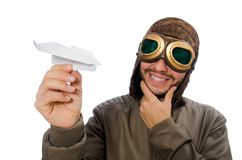 Funny pilot isolated on the white Royalty Free Stock Photo