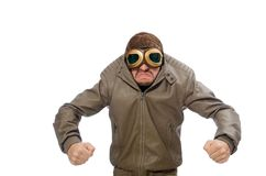 Funny pilot isolated on the white Royalty Free Stock Photos