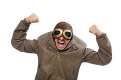 Funny pilot isolated on  white Stock Image