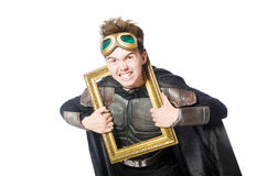 Funny pilot with picture frame isolated Stock Photos