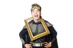 Funny pilot with picture frame isolated Royalty Free Stock Photo