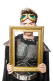 Funny pilot with picture frame isolated. On white stock photos