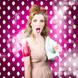 Funny pin-up woman pressing clothes. Dry cleaning Royalty Free Stock Image