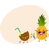 Funny pineapple and coconut characters drinking cocktails, having fun Stock Photography
