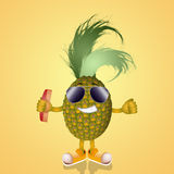 Funny pineapple with sunglasses Stock Photography