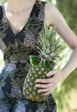 Funny pineapple in the sunglasses Royalty Free Stock Photo