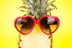 Funny pineapple in a sunglasses Stock Images